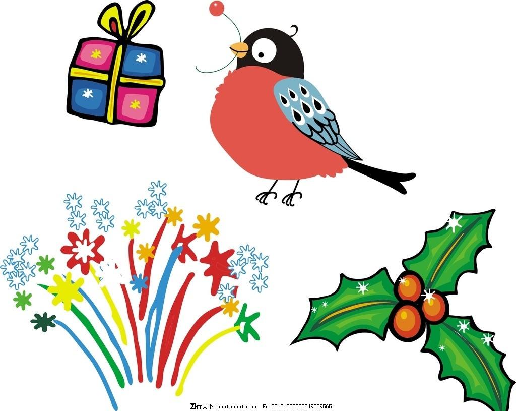 小鸟 礼物 手绘 卡通装饰 创意 可爱卡通素材 手绘素材 韩国插画图片