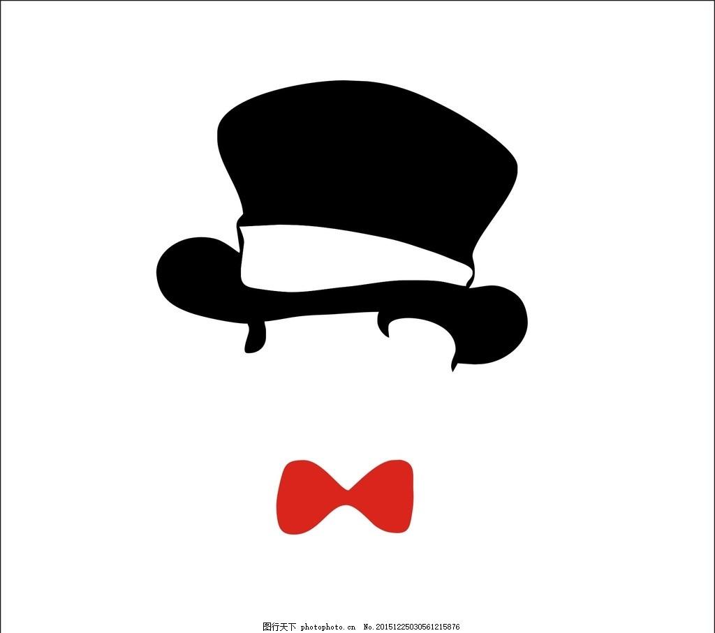 高帽 领结 红色蝴蝶结 黑色帽 绅士 绣花 印花 背景 蝴蝶结 设计 素材