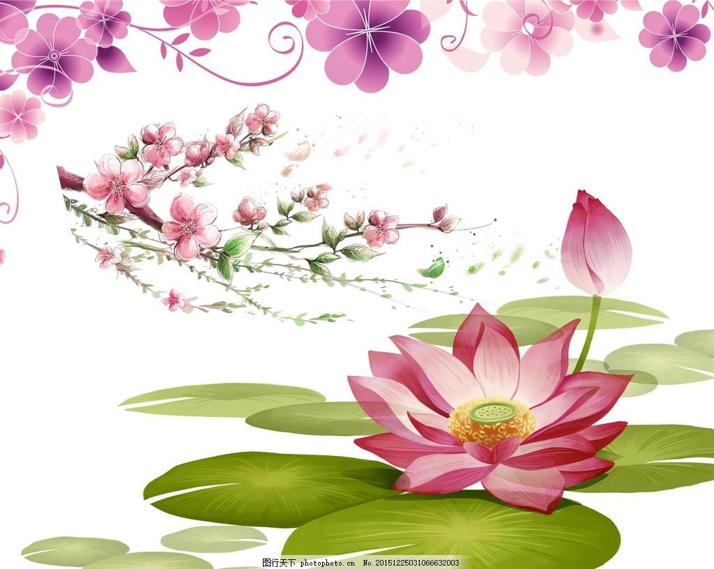设计图库 广告设计 其他  桃花 荷花 红莲 莲 荷花素材 荷园月色 福满