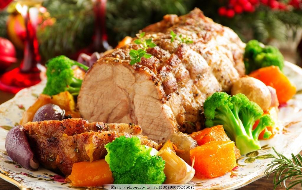 西餐美食,肉类 西蓝花 美味 摄影-图行天下图库