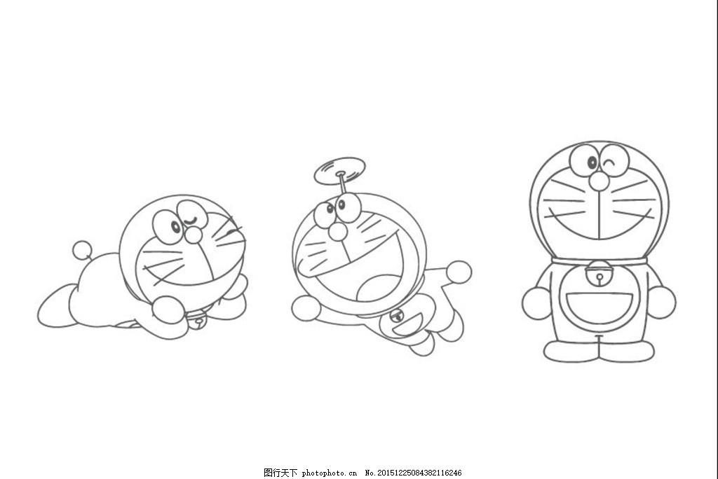 哆啦a梦线图 小叮当 蓝胖子 卡通人物 卡通线图 竹蜻蜓 动漫动画图片
