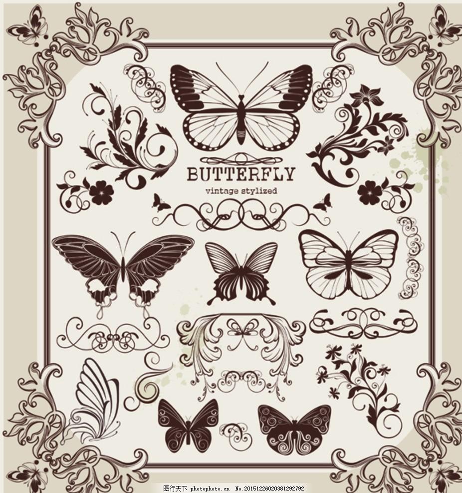 蝴蝶花纹 欧式 边框 线条 素描