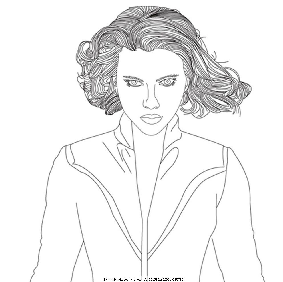 漫威人物黑寡妇矢量图线稿,漫画 女性 美女 黑白线条