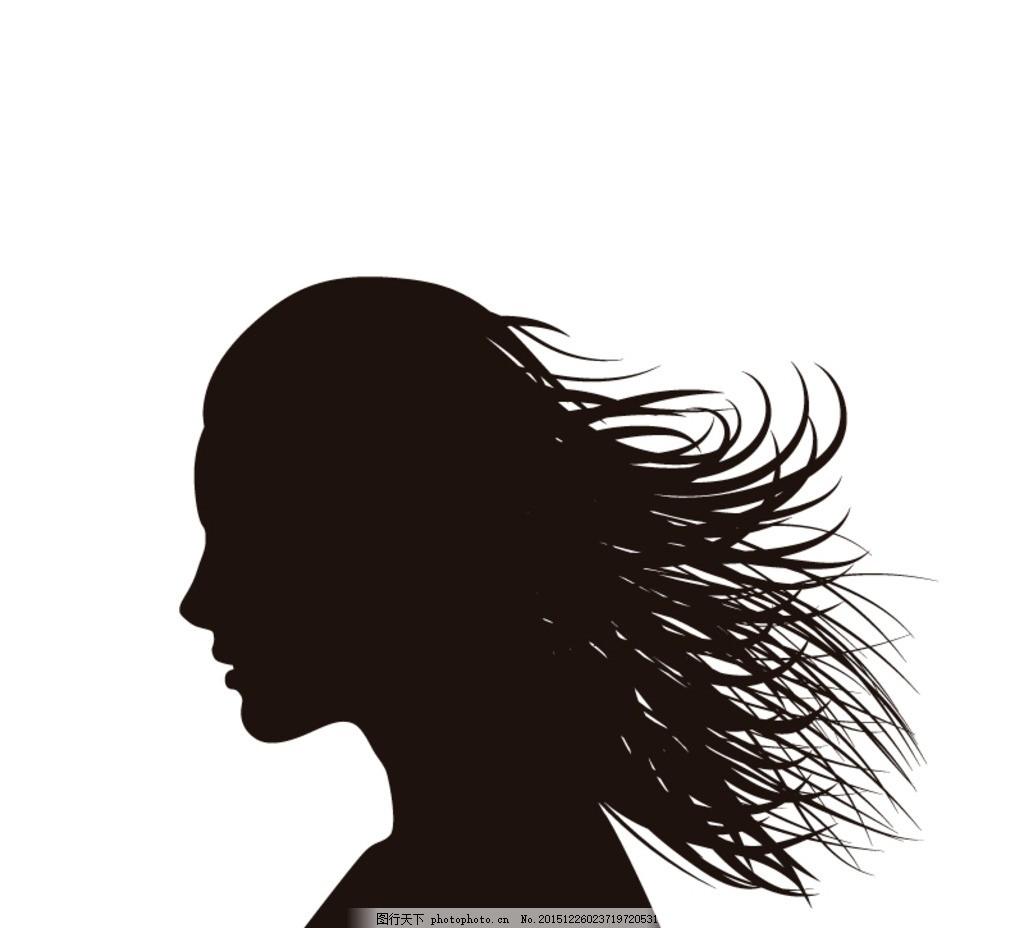 长发女子 侧脸 剪影 卡通 女人 女士 女子 女孩 女生 女性 人物 插画