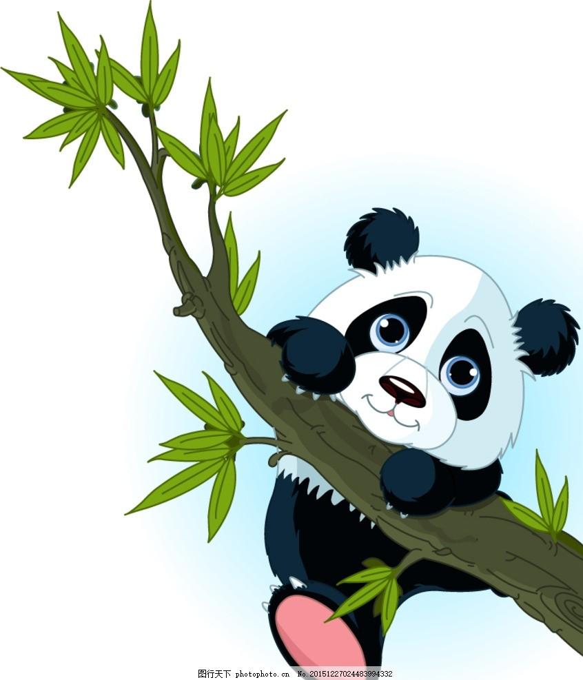 爬树枝的熊猫 树木 大树 绿叶叶子 植物 动物 装饰 卡片 插画