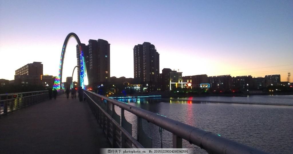 建昌夜景 葫芦岛 步行桥 河岸 河边 摄影 建筑景观