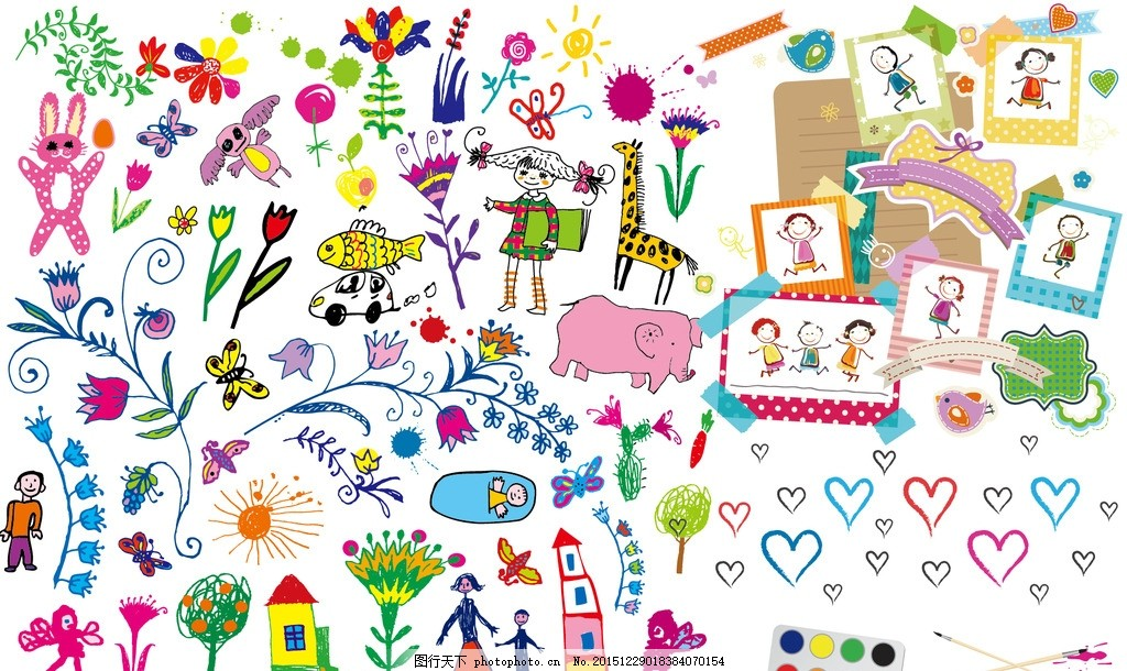 幼儿园 小孩 儿童 兔子 跳舞 舞蹈 手绘 绘画 画画 调色板 画笔 画纸