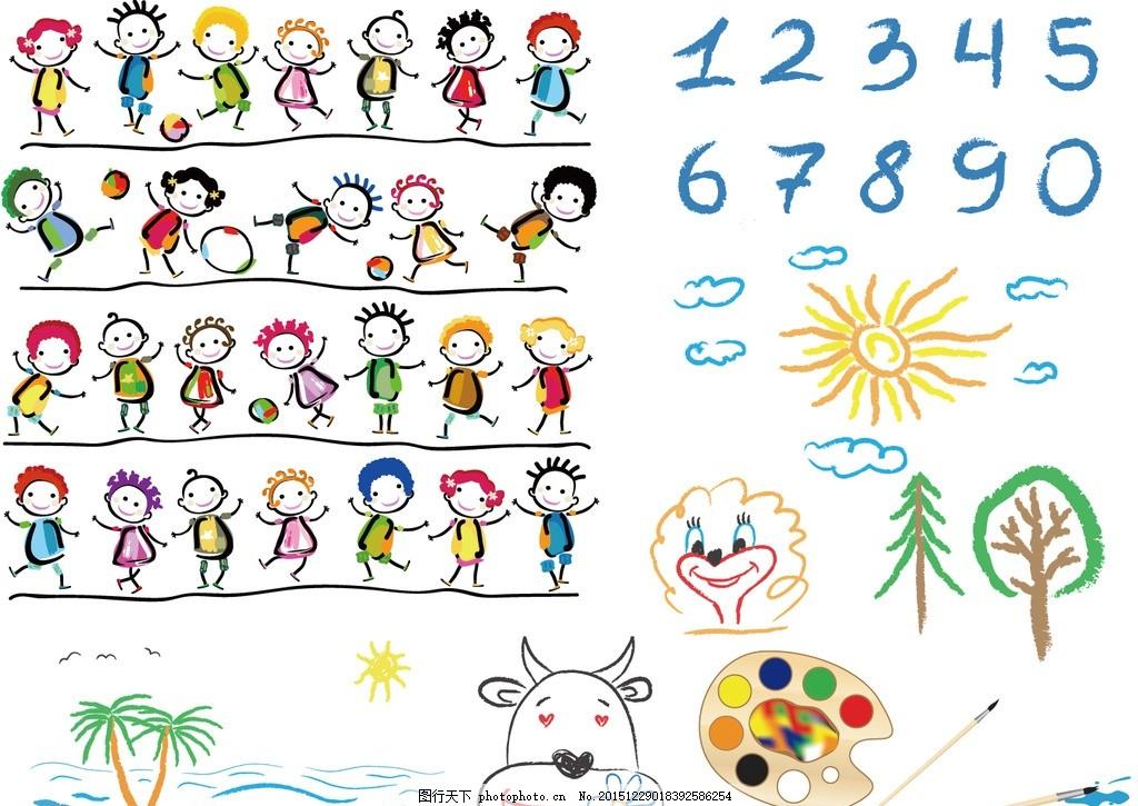 幼儿园插画 幼儿园 小孩 儿童 跳舞 舞蹈 手绘 绘画 画画 调色板 画笔
