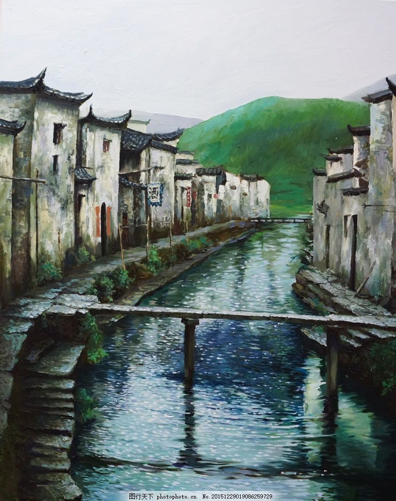 皖南雨季 油画 写生 风景 山水 安徽 设计 文化艺术 绘画书法 350dpi