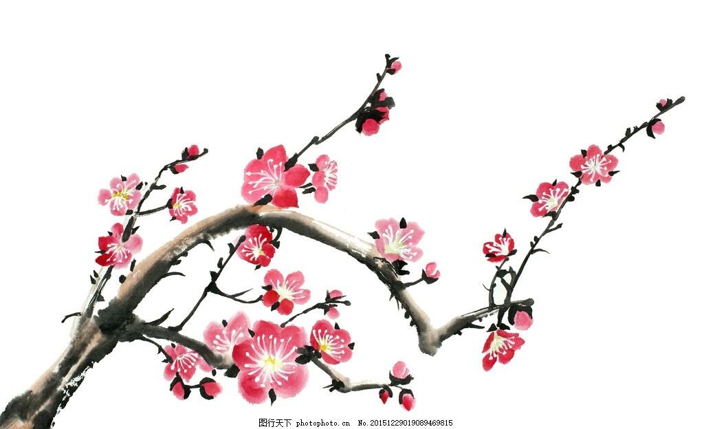 国画梅花_梅花 国画梅花 花鸟 雪梅 梅花装饰画 艺术梅花 梅花无框画 其它素材