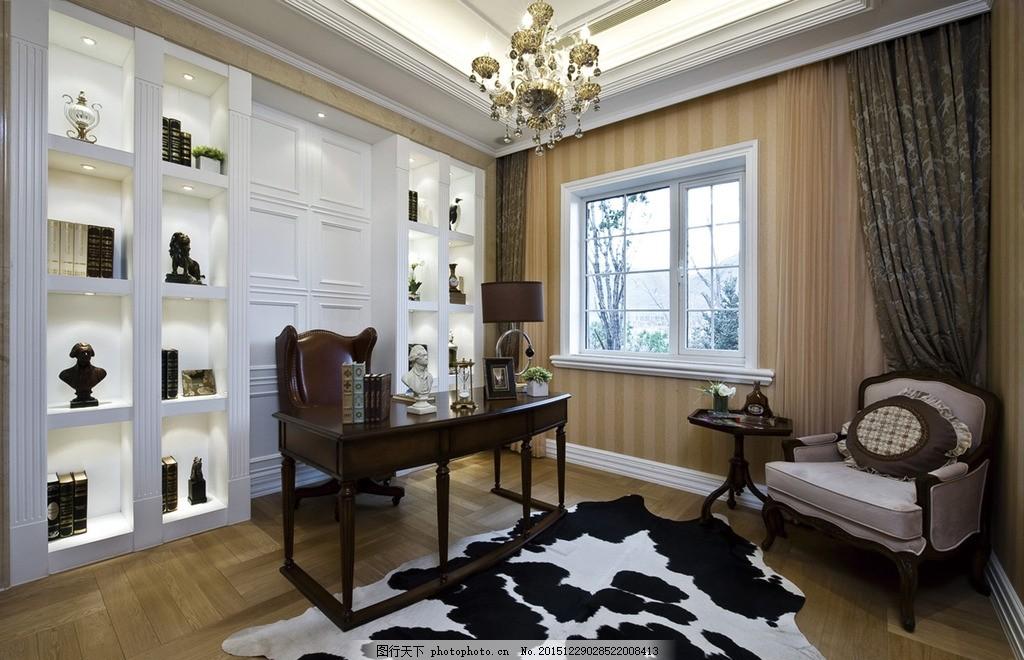 室内设计效果图 书房 休闲 欧式