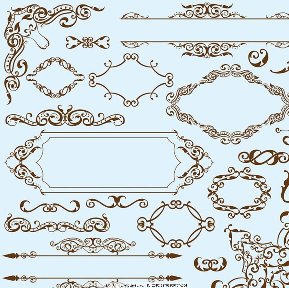 边角花纹 对角花纹 装饰花纹 卷纹古典花 传统花纹 花纹花边 底纹边框