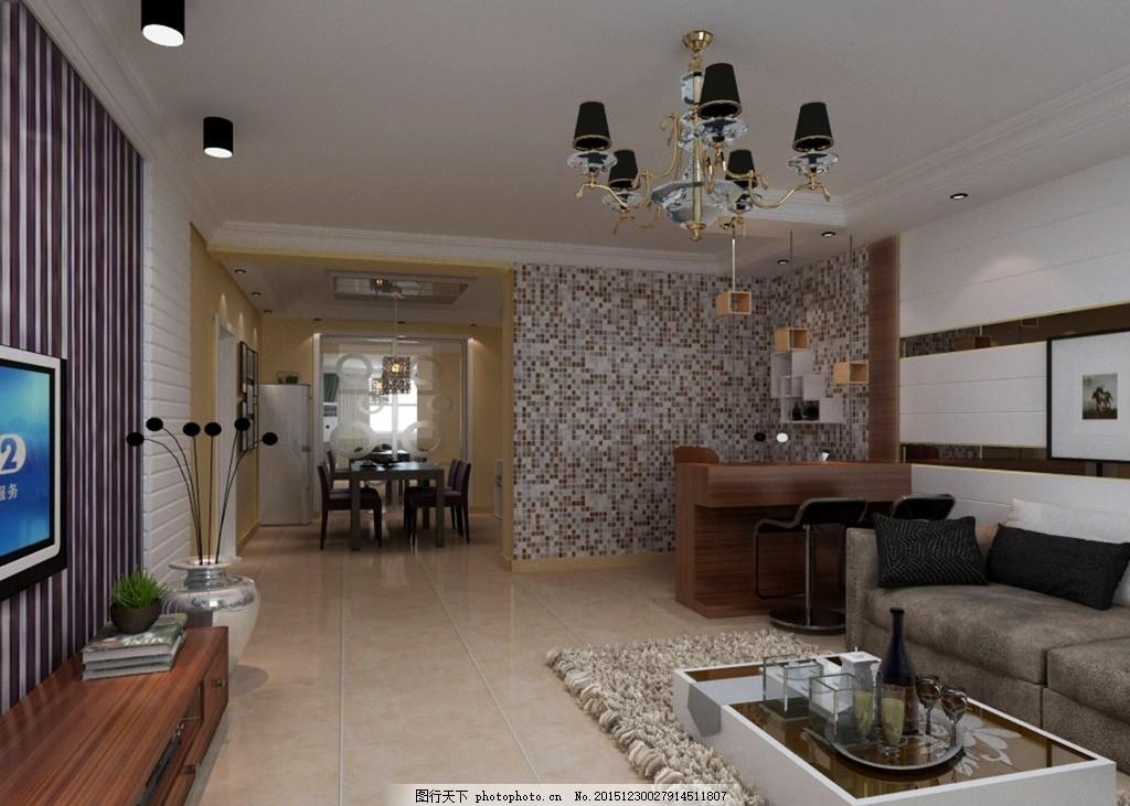 室内效果图 客厅效果图 现代简约 电视背景墙 明筒灯        设计