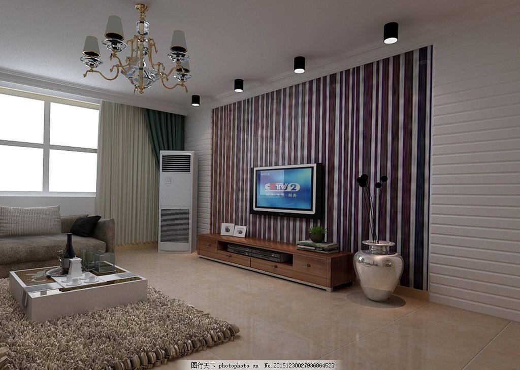 现代简约 电视背景墙 明筒灯效果图        设计 环境设计 室内设计
