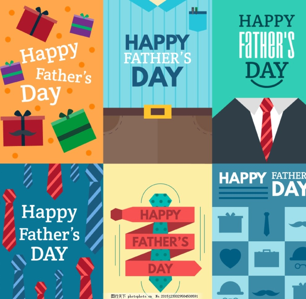 父亲节贺卡 礼盒 礼物 西装 裤腰带 领带 父亲节 贺卡 happy fathers