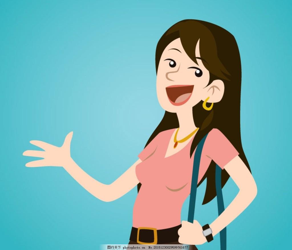 卡通女孩 长发 女人 女士 女子 女生 女性 人物 插画 背景