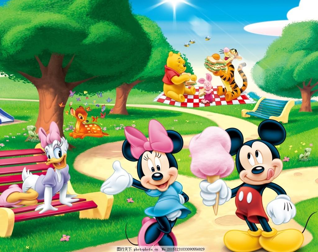 动物春游 幼儿园 迪士尼 米老鼠 道路 大树 背景 幼儿类 设计 psd分层