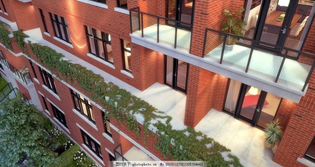 红墙公寓楼效果图,楼盘效果图,社区,建筑,综合楼,商圈,地产项目